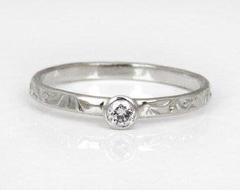 Silver diamond ring, Silver engagement ring, small diamond ring, delicate diamond ring, unique engagement ring in silver, floral ring.