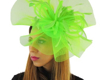 Fluorescent Lime Green Grand Dame Fascinator Hat for Weddings, Races, and Special Events With Headband