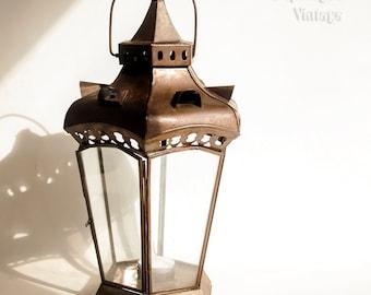 Indian Vintage Style Lantern Hanging Glass Tea Light Candle Holder