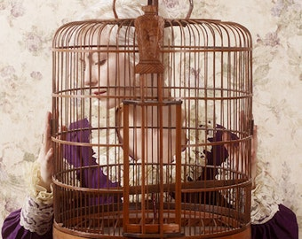 Quiet and Caged 3 - FREE SHIPPING - Cage Portrait Art Wood Empty Purple Cream White Lace Surreal Creepy Woman Vintage Photo HomePoster Decor