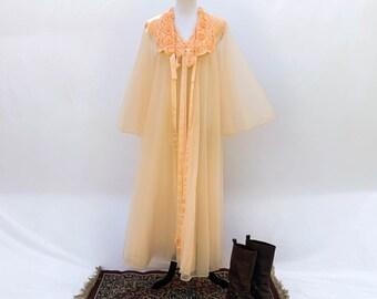 Vintage 1960s Vanity Fair sheer night dress with dressing gown set