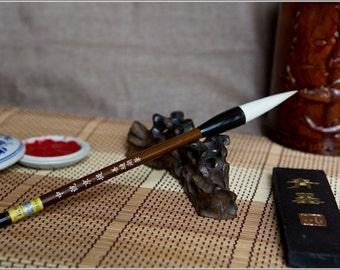 Free Shipping Chinese Calligraphy Material  5.5x1.1cm Goat Hair Brush/JT (Medium) - Organic Material Handle - 0003M