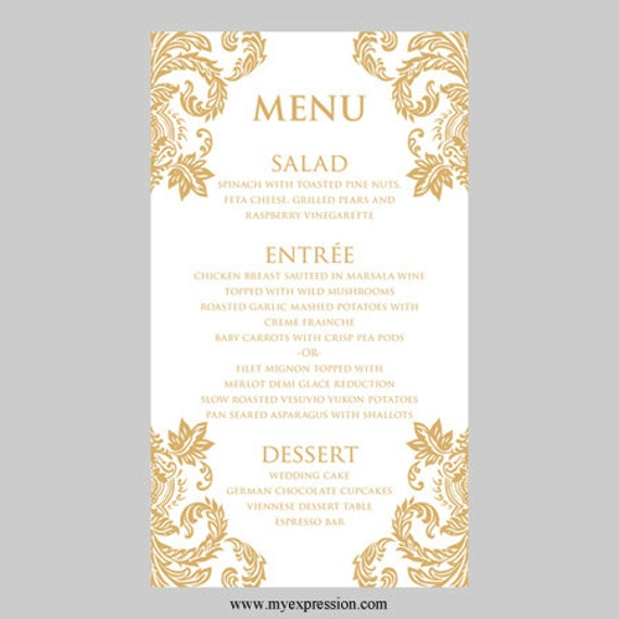 Hochzeit Menü Karte Vorlage Gold Damast Instant Download