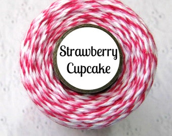 Dark Pink, Light Pink, & White Bakers Twine - Strawberry Cupcake Trendy Twine - 160 Yds