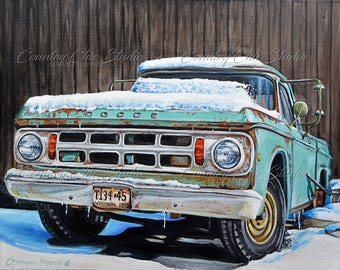 Truck in Snow Paintings Unframed Print