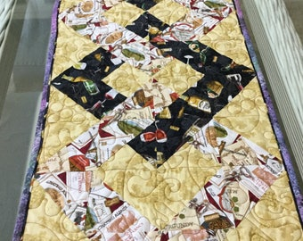 "Table runner, Quilted table runner 46"" x15"", Hostess gift, Quilted table topper, Gift for new home, Quilted table decor, Coffee table runner"