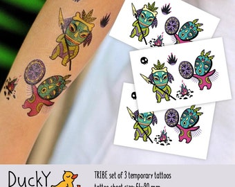 Set of 3 temporary tattoos Tribe. Stone age ancient people with spear and fire. Tribal party favors, Red indian temporary tattoos. TT273