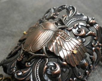Insect Jewelry Steampunk Statement Cuff Bracelet Scarab Beetle