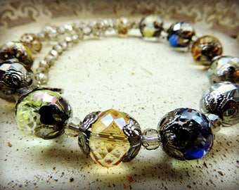 Short necklace pearls Crystal multi reflection, vintage style, very 50's!