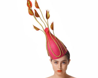 Avant Garde Races Hat, Pink and Green Fascinator