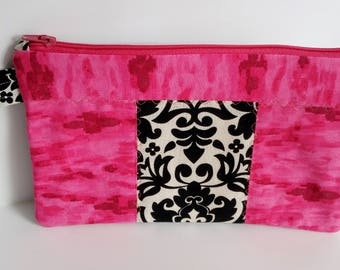 Cosmetic Wallet Case, Quilted Case, Pink and Black Case, Zipper Pouch, School Supplies, Gadget Case, Gift for Her, READY TO SHIP
