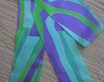Purple, Lime Green, Teal and Sky Blue Vintage Long Scarf