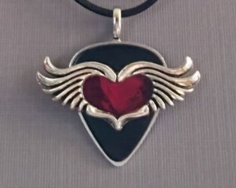 """Guitar Pick Necklace """"When Heart Is Open"""""""