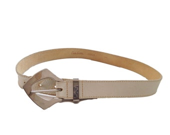 Carlos Falchi White Genuine Leather Embossed Belt - Size Small