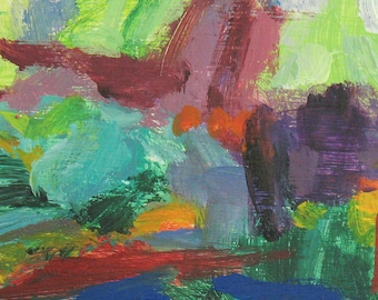 Deep Forest Abstract ORIGINAL PAINTING 9 x 12 magenta lavender acid green sage