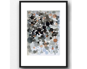 Abstract Watercolor Black painting, dots, black space, watercolor print, abstract painting bubbles
