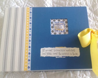 BOY BABY BOOK, Boy Baby Memory Book, Nautical Baby Book, Sailboats and Anchors, Blue white and yellow. Baby's monthly progress,photo book.