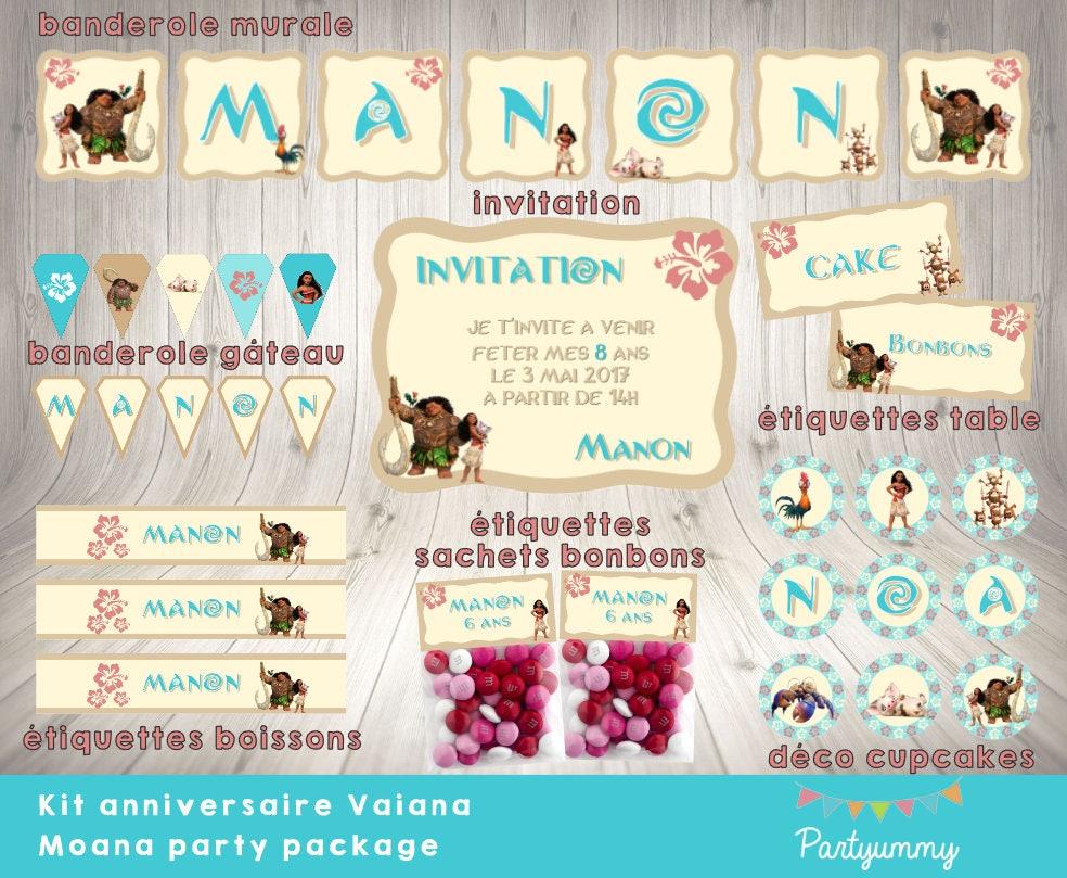 Top Kit anniversaire Vaiana personnalisé à télécharger JN42
