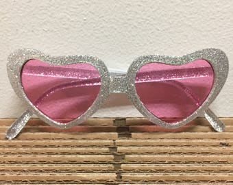 heart sunglasses 90s  silver glitter + pink tinted lenses lolita sunnies glasses shades pink lens