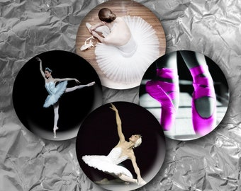 "Ballet -  15 Images in 1 Inch Circles 4"" x 6"" Digital Collage Sheet For Bottle caps, Cupcake Toppers"