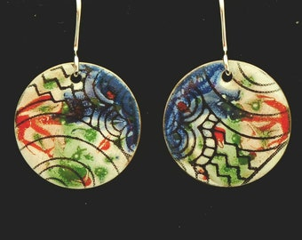 Enamel on copper drop earring with Sterling wires.