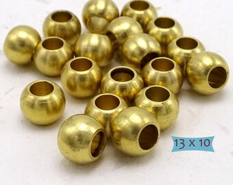 Big Solid Brass Matte Finish Beads Large Holes--10 Pcs. | 38-BR1365-10