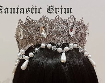 Deluxe Regal Crown Tiara Headband - Silver (MADE TO ORDER)