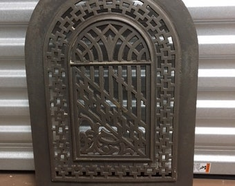 Antique Arched Cast Iron Fireplace Cover