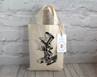 Party Bag / Alice in Wonderland / Mad Hatter Party Bag / Goody bag / Gift bag / Cotton Gift Bag / Children's party bags/ Thank you gift bag