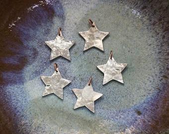 Pewter mini star Ornaments set of five