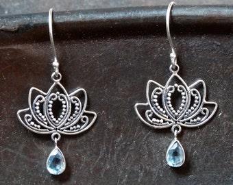 Lotus flower earrings lotus earrings lotus flower jewellery silver earrings lotus earrings blue topaz earrings lotus flower jewellery sterling silver mightylinksfo