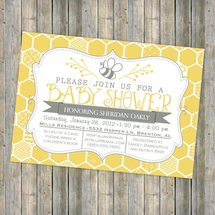 bee baby shower invitation bee and honey comb typography