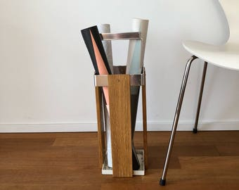 70s umbrella stand made of wood and metal
