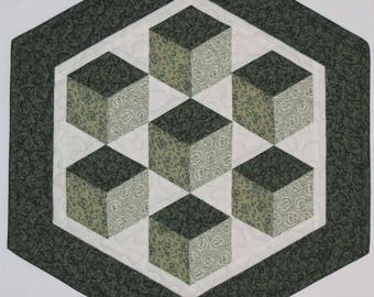 Quilted Table Topper, Floating Blocks, Green