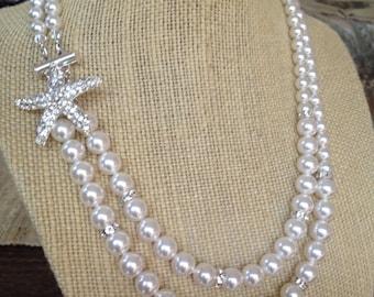 Bridal Starfish Necklace, Swarovski Bridal Necklace,  Doublestrand Pearl necklace, Beach Wedding Necklace,  Silver Starfish, MARILLA