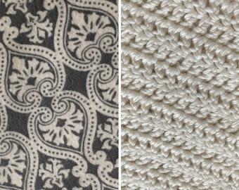 Damask-Blanket-Gray-Cream-Coral-Minky-Crochet Blanket-Burp Cloths-Layette Set