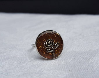 Cute Adjustable ring resin inclusion, small silver rose and copper glitter