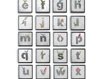 Bird Nursery Letters, Alphabet Art Block, ABC Art Print for Kid's Rooms, Alphabet Letters Art Prints, Whimsical Bird Alphabet Letters