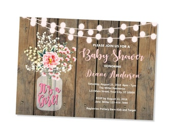 Rustic Baby Shower Invitation, Wood & String Of Lights Baby Shower Invitations, Baby's Breath Mason Jar Baby Shower Invitation