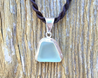 Aqua Sea Glass Sterling Silver Pendant Necklace by Wave of Life