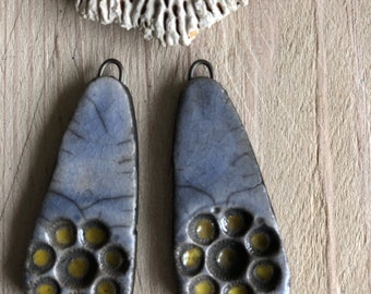 Set of 2 ceramic raku pendants