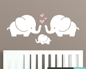 Éléphant famille Wall Decal - Cute Baby Nursery Sticker autocollant - WAL-A153