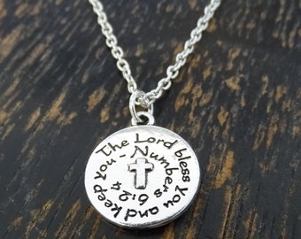 The Lord Bless You And Keep You Necklace, The Lord Bless You And Keep You Charm, Christian Necklace, Religious Necklace, Bible Verse, God