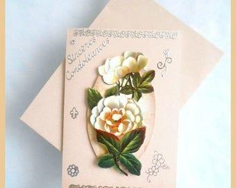 beige sympathy, white flowers in 3D card