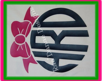 Custom Iron On Bow Monogramm Vinyl Monogram Preppy Bow You Choose Color and Style Set of Two