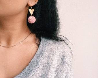 Pom Pom Earrings Triangle Earrings Peach Pink  Pompoms Geometric Earrings Statement Earrings Soft Coral Statement jewelry Pom-Pom earrings