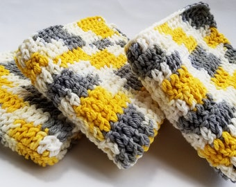 Mustard Yellow, Gray, Grey, White Variegated Washcloths, Dishcloths - Set of Three Crocheted Wash Dish Cloths - Crochet Bathroom, Kitchen