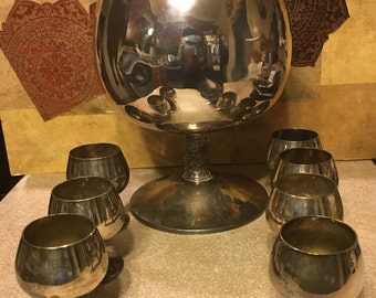 Nice Vintage Silver Plated  Wine Cup Shaped Punch Bowl With 7 Cups. Spain