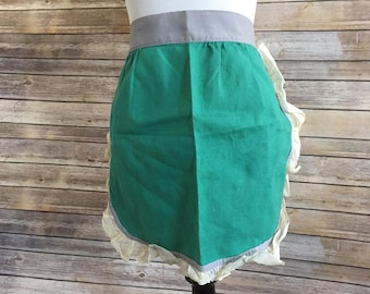Vintage Apron - Teal Green Apron with Gray Waistband and Ruffled Off White Trim
