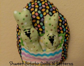 Shweet Easter Egg Bunnies, Bright Neon Large Egg with Bunnies Inserts, Door Hanger, Larger Ornament, Whimsical
